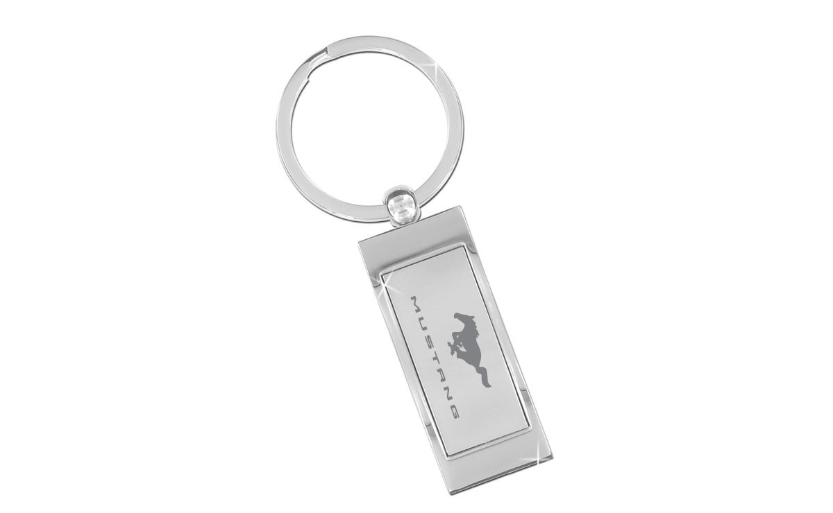 Ford Mustang Satin Silver Insert Rectangle Curve Shape Keyring