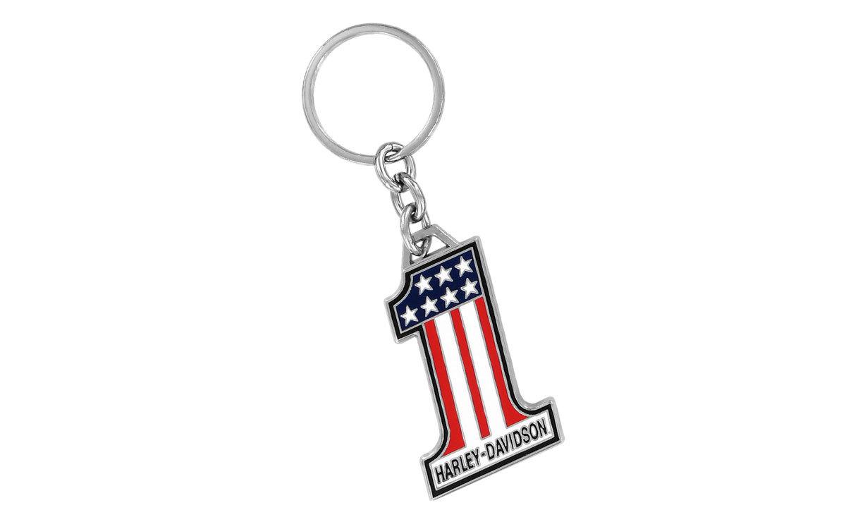 Harley Davidson American Flag Number One Keyring
