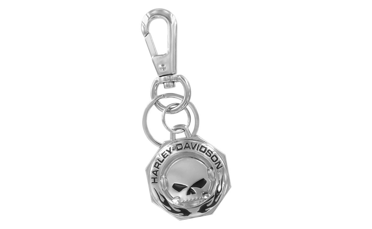 Harley Davidson Skull & Flames Chrome Keyring