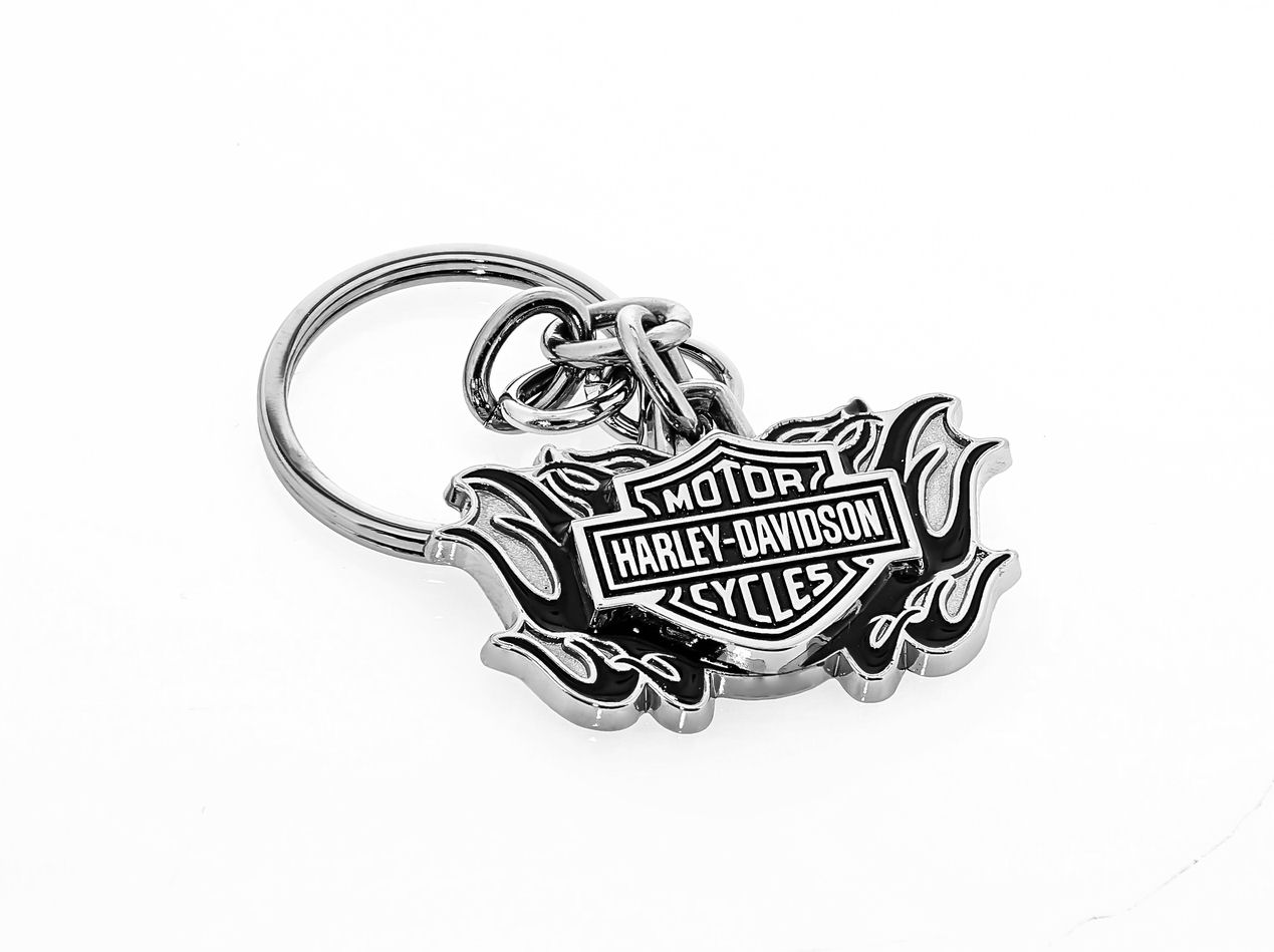 Harley Davidson Bar & Shield New 3D Black Flame Design Keyring