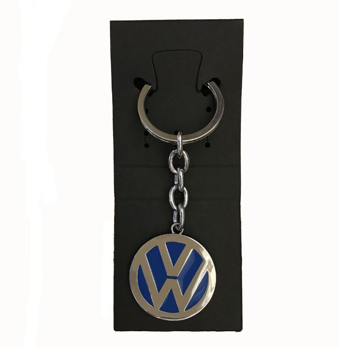 VW Logo Keychain Blue Officially Licensed