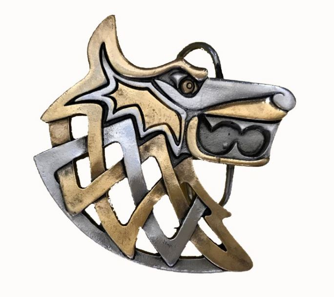 Viking Wolf Gold & Silver Plated Belt Buckle