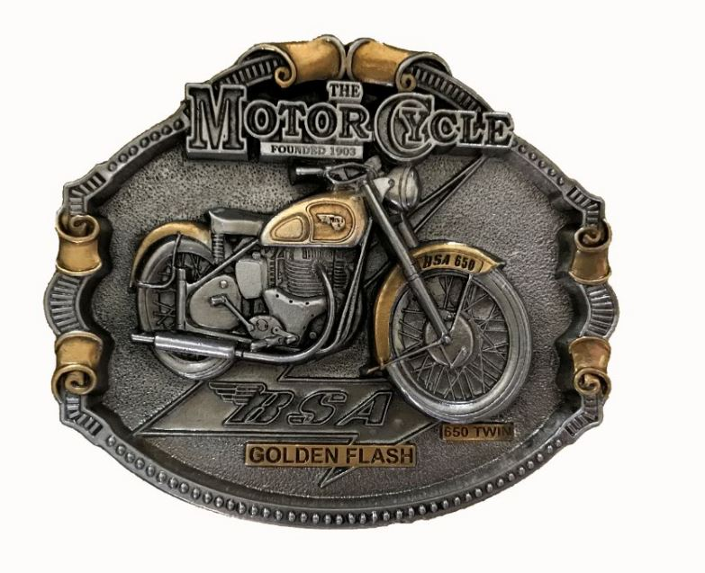 BSA Golden Flash Motorcycle Gold - Silver Plated Belt Buckle