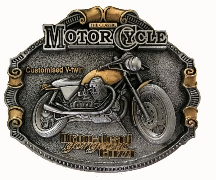 Moto Guzzi  Motorcycle Gold & Silver Plated Belt Buckle