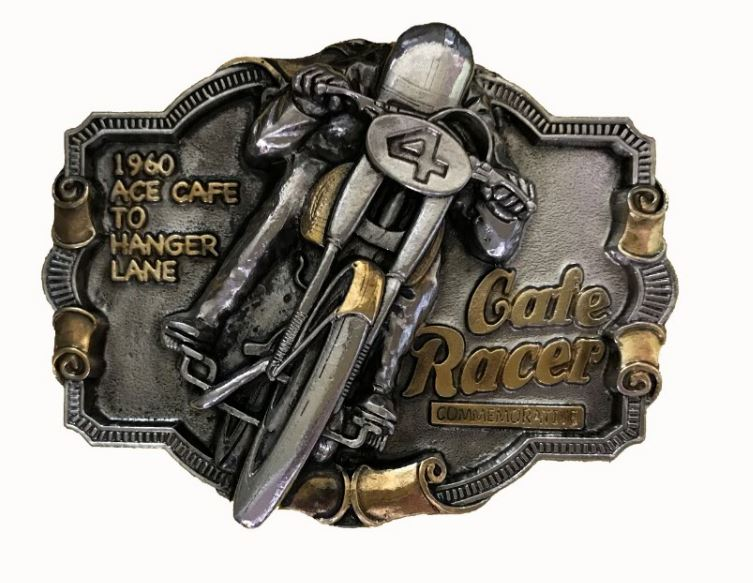 Cafe Racer Commerative Gold - Silver Plated Belt Buckle