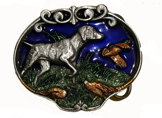 Dog & Pheasants  Belt Buckle