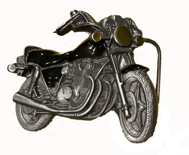 Black Motorcycle Belt Buckle