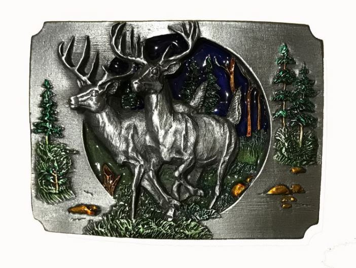 Deer In Forest Cut Out Belt Buckle