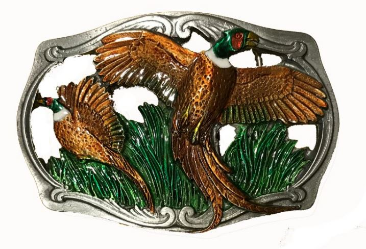 Flying Pheasants Cut Out Belt Buckle