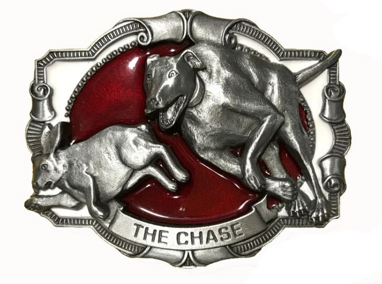 The Chase Lurcher Red & White Belt Buckle