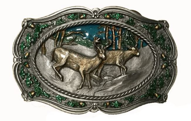 Deer On Mountain Belt Buckle
