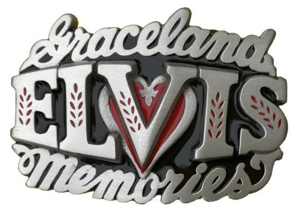 Elvis Memories - Black & Red Belt Buckle