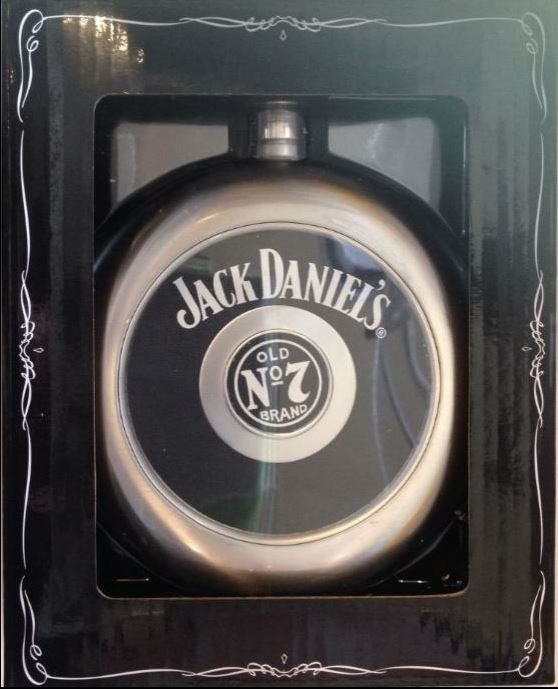 JACK DANIELS CIRCULAR FLASK WITH REMOVABLE CENTRE SHOT GLASS