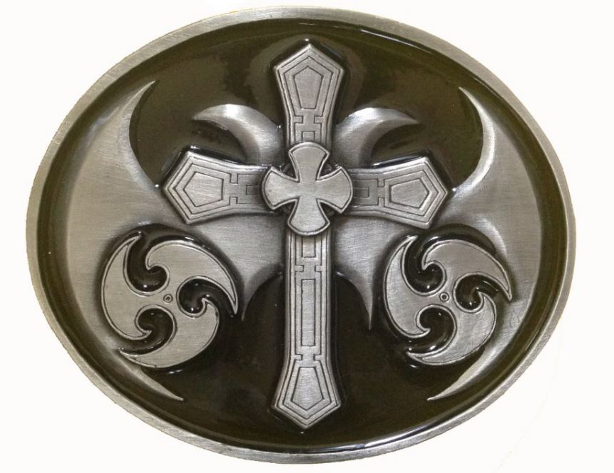 Celtic Cross Oval Oversized Belt Buckle