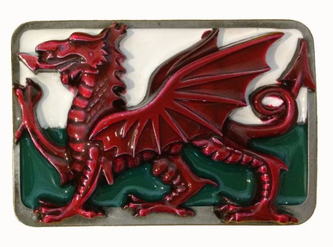 Welsh Dragon Green - White Belt Buckle