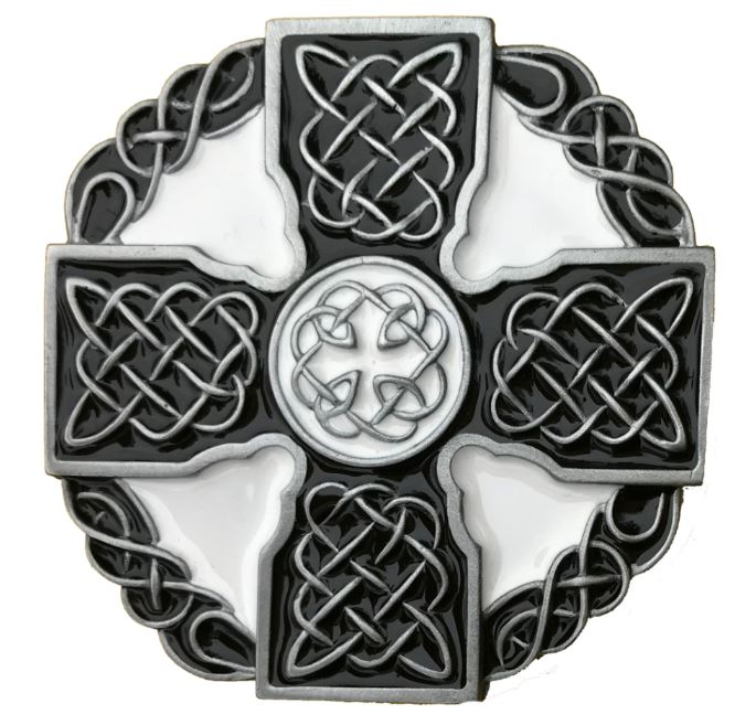 Celtic Cross Black & White Belt Buckle