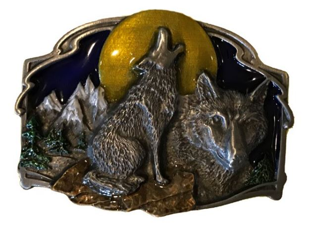 Wolves-Moon Belt Buckle