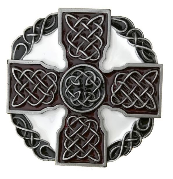 Celtic Cross Dark Red & White Belt Buckle