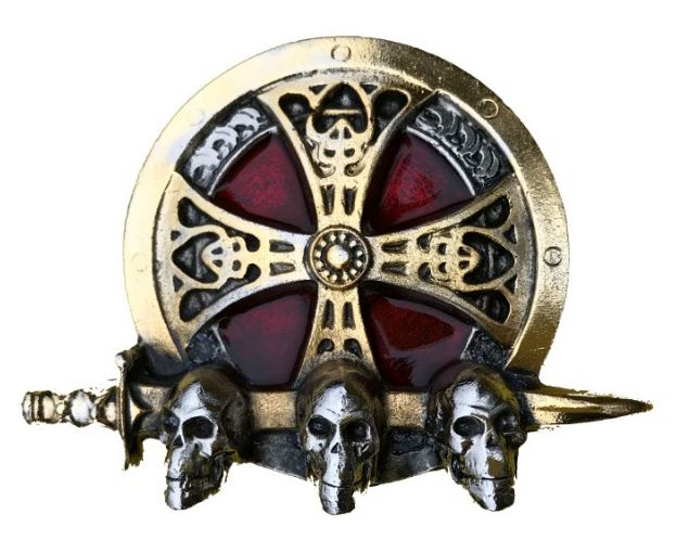 Cross 3 Skulls Gold & Silver Plated Colour Belt Buckle
