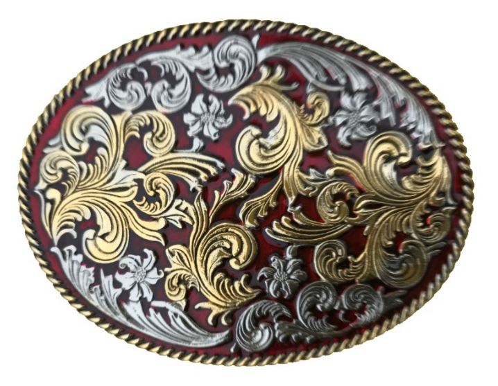 Large Oval Design Gold & Colour