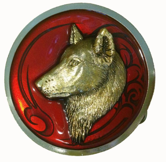 Round Wolf Head Gold & Silver Plated Red Belt Buckle