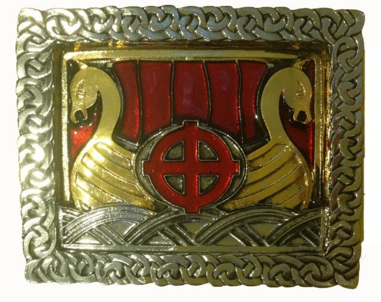 Viking Ship Gold & Silver Plated Colour Belt Buckle