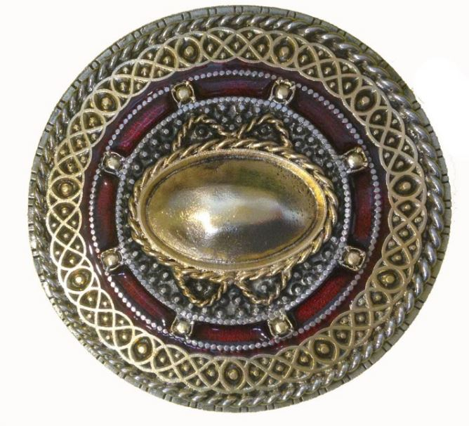 Celtic Round Gold & Silver Plated Red Belt Buckle