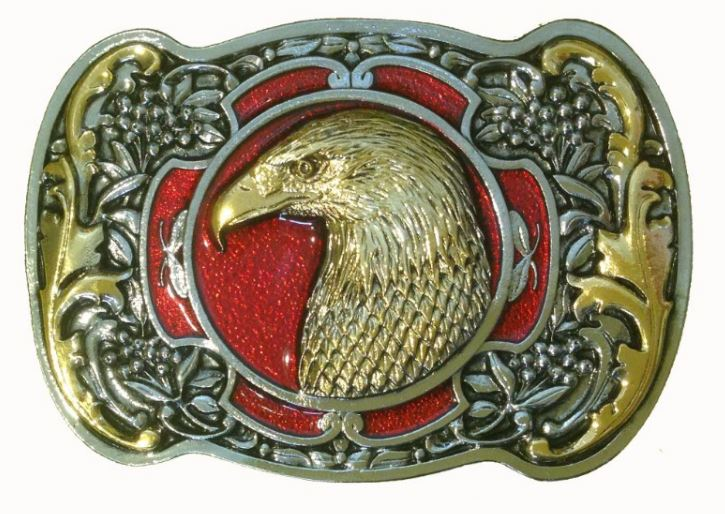 Eagle Head Gold & Silver Plated Colour Belt Buckle