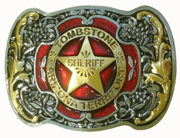 Tombstone Sheriff  Gold & Silver Plated Colour Belt Buckle