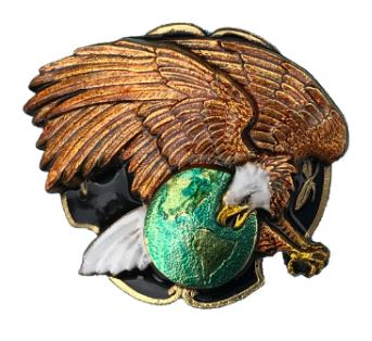 Eagle on Globe Gold - Silver Plated Bolo Tie Complete with Cord