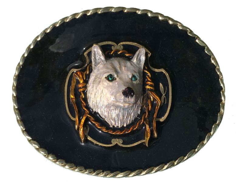 WOLF AND ROPE Belt Buckle Gold Colour
