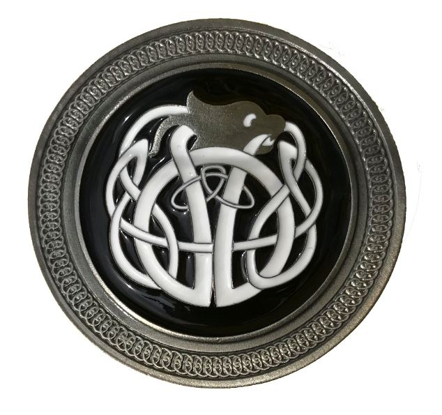 Celtic Knot Black & White Belt Buckle