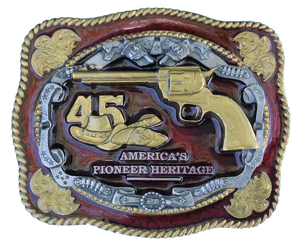 45 Red & Gold Belt Buckle