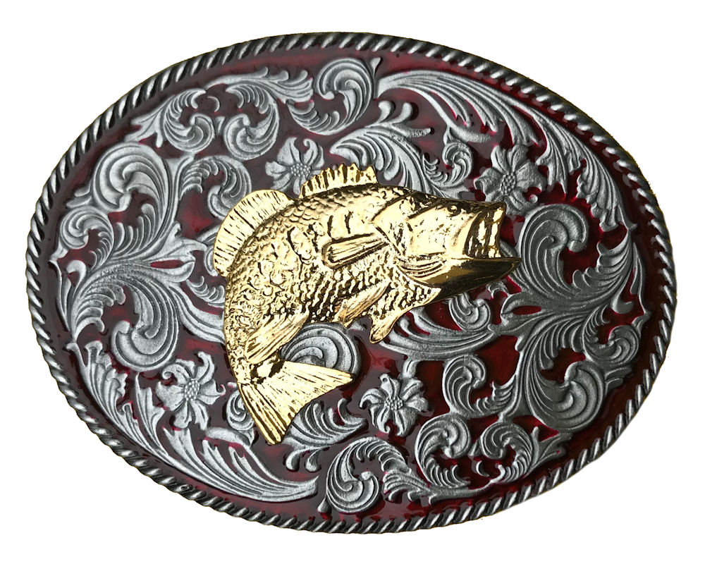 Rodeo Red Western Buckle withGold Fish