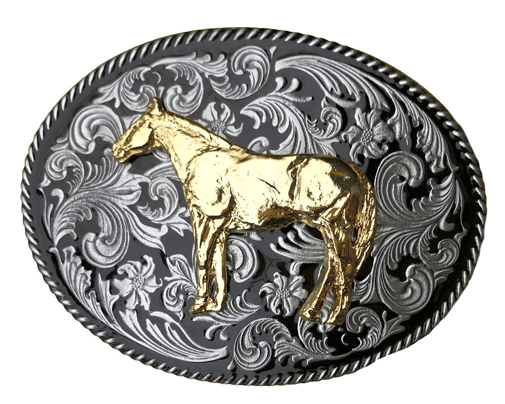 Rodeo Black with Gold Horse