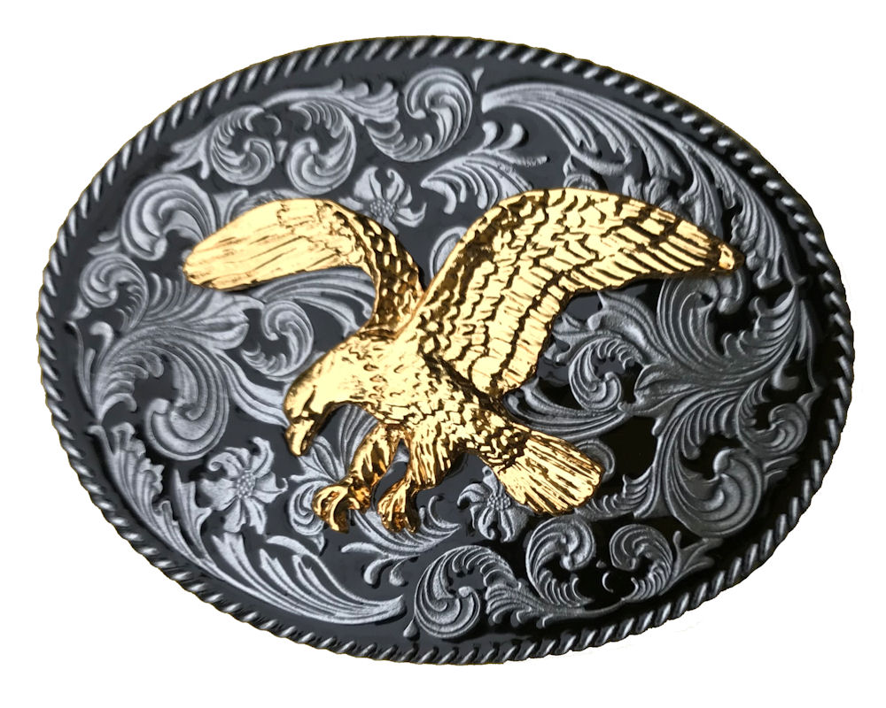 Rodeo Black Medium Gold Eagle Buckle