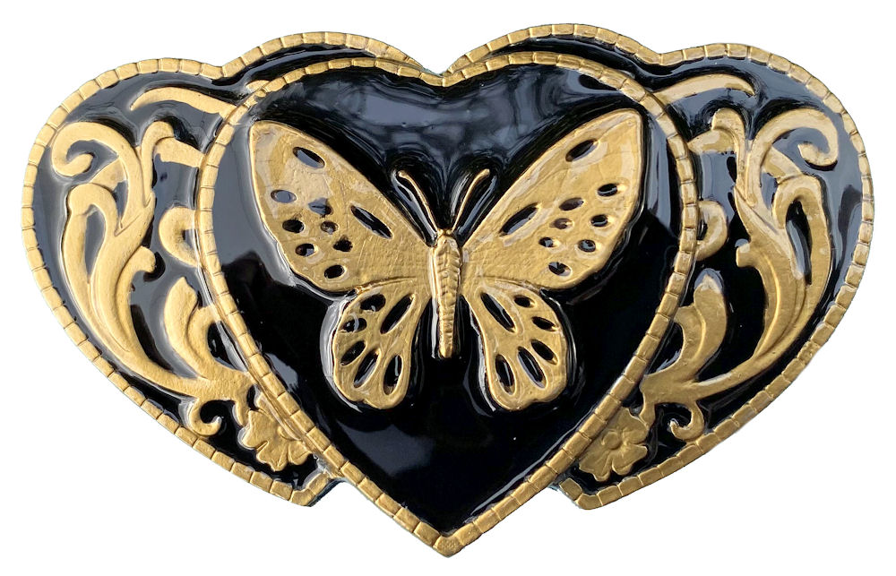 Butterfly on 3 Hearts Black & Gold Belt Buckle