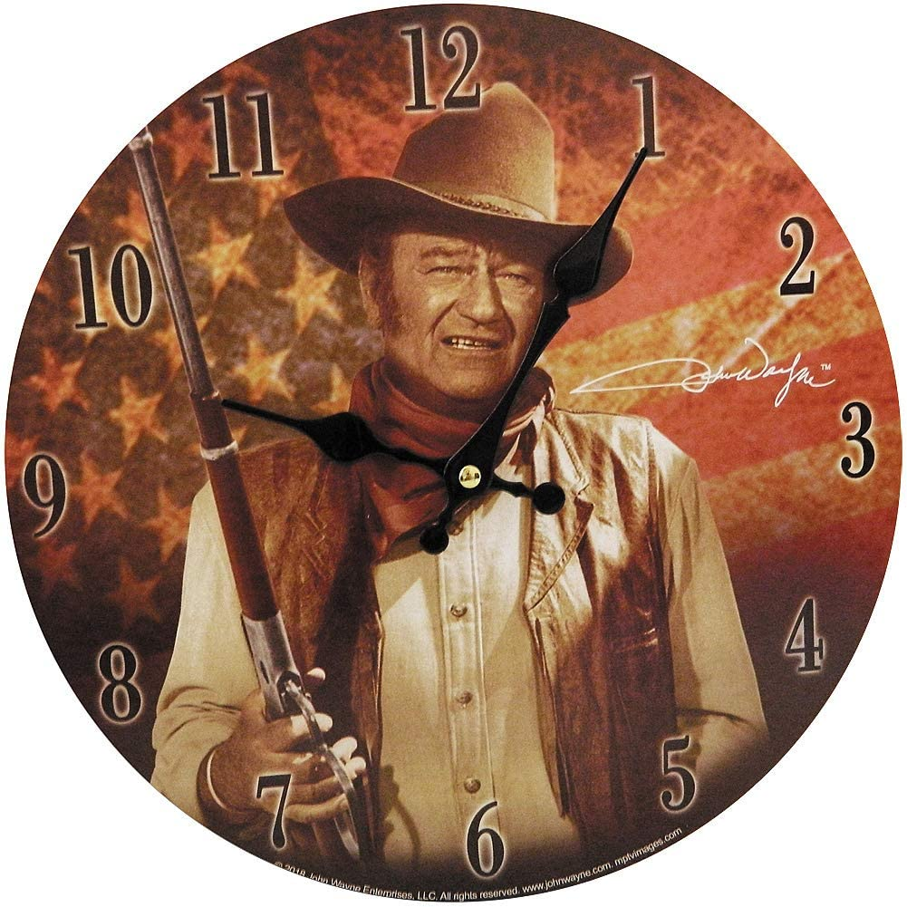 John Wayne Clock with Flag 11.75