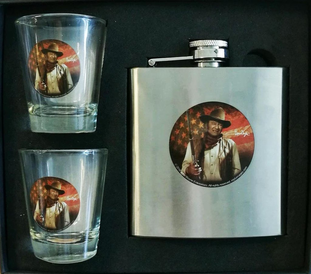 John Wayne 3 PC Flask & Shot Glass Set