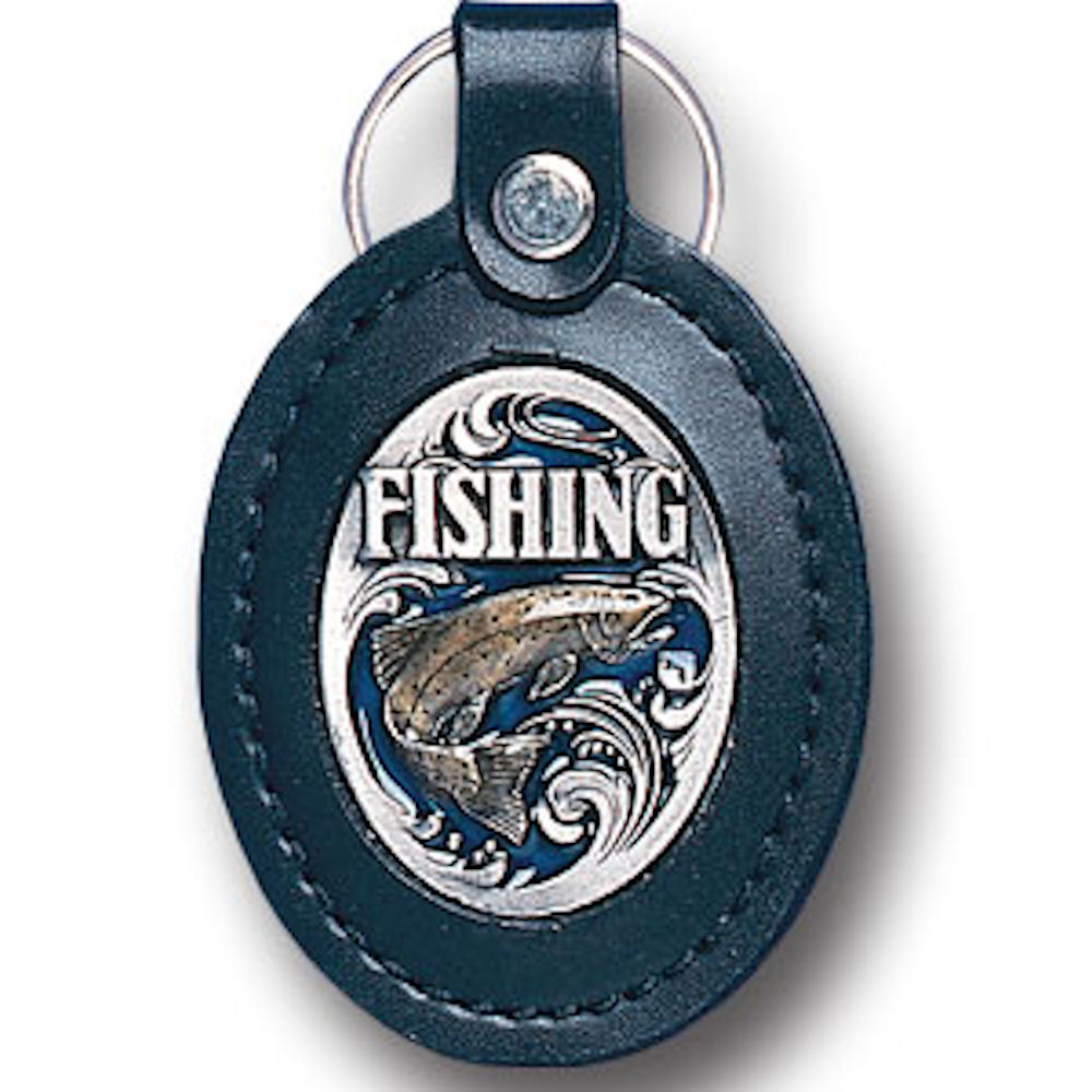 Fishing Leather Keyring
