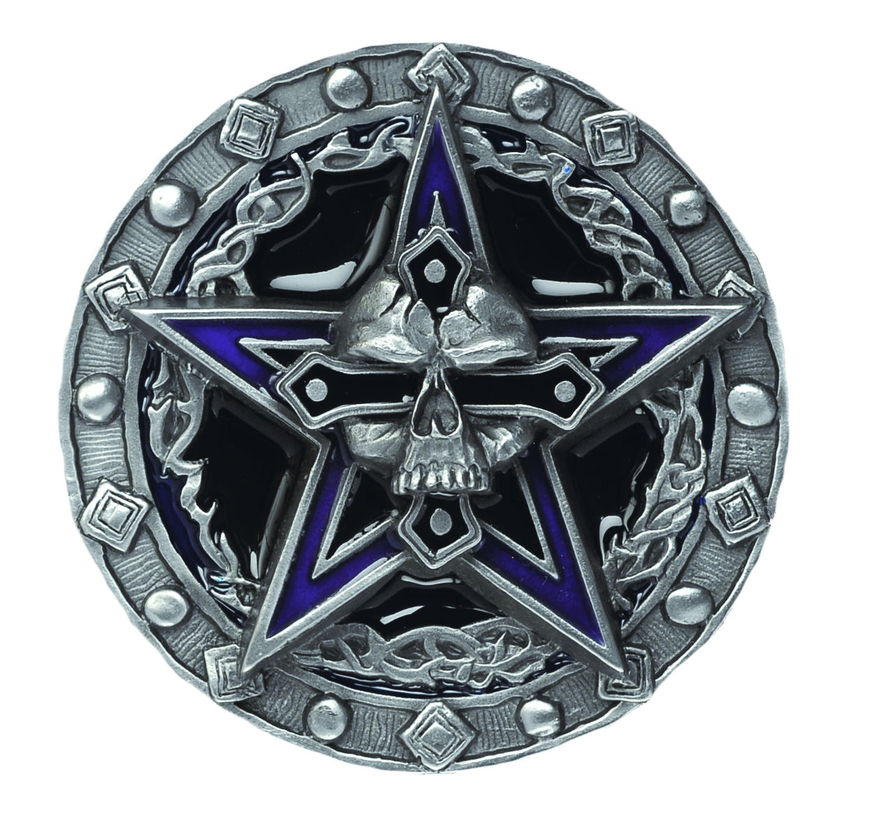 Pentagram Skull Belt Buckle