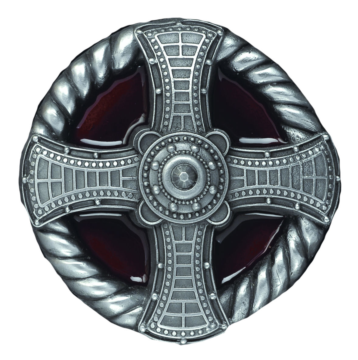 Cross & Rope red Belt Buckle