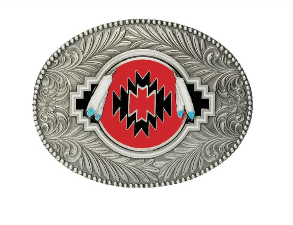 Indian Shield Red Belt Buckle