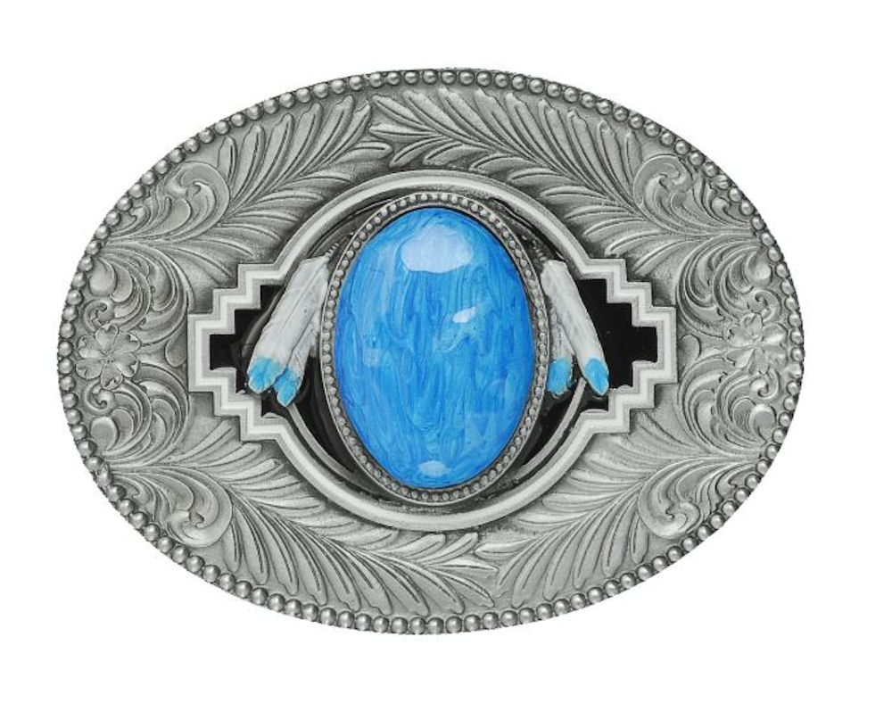 Oval & Feathers Turquoise Belt Buckle