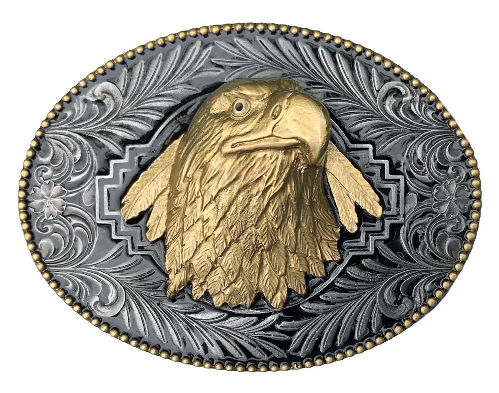 Eagle Head Black & Gold Edition Belt Buckle
