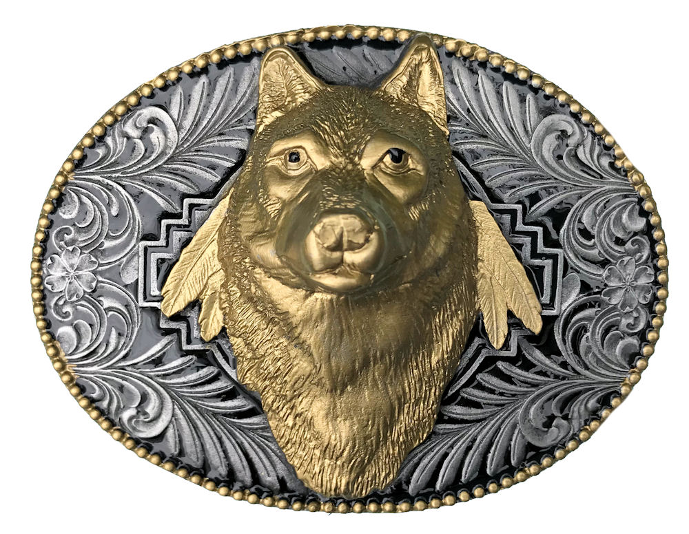 Wolf Head Black & Gold Edition Belt Buckle