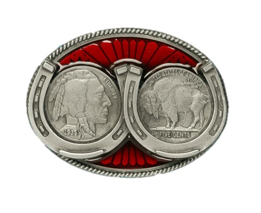 Coins & Horseshoe Belt Buckle