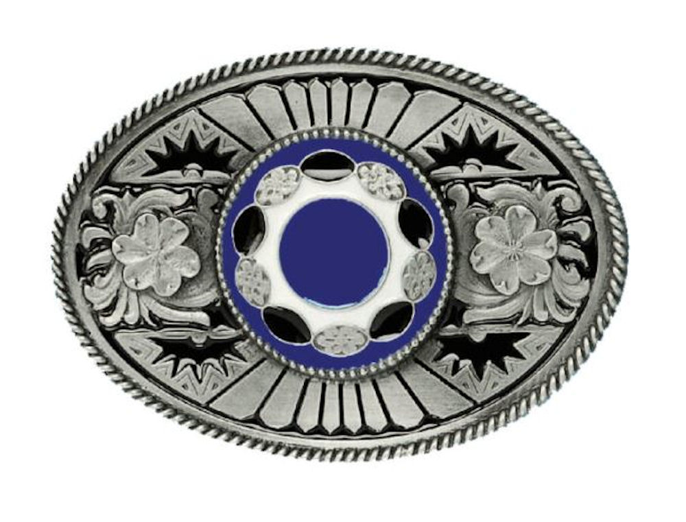Oval with Stone Blue Belt Buckle