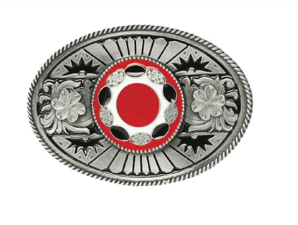 Oval with Stone Red Belt Buckle