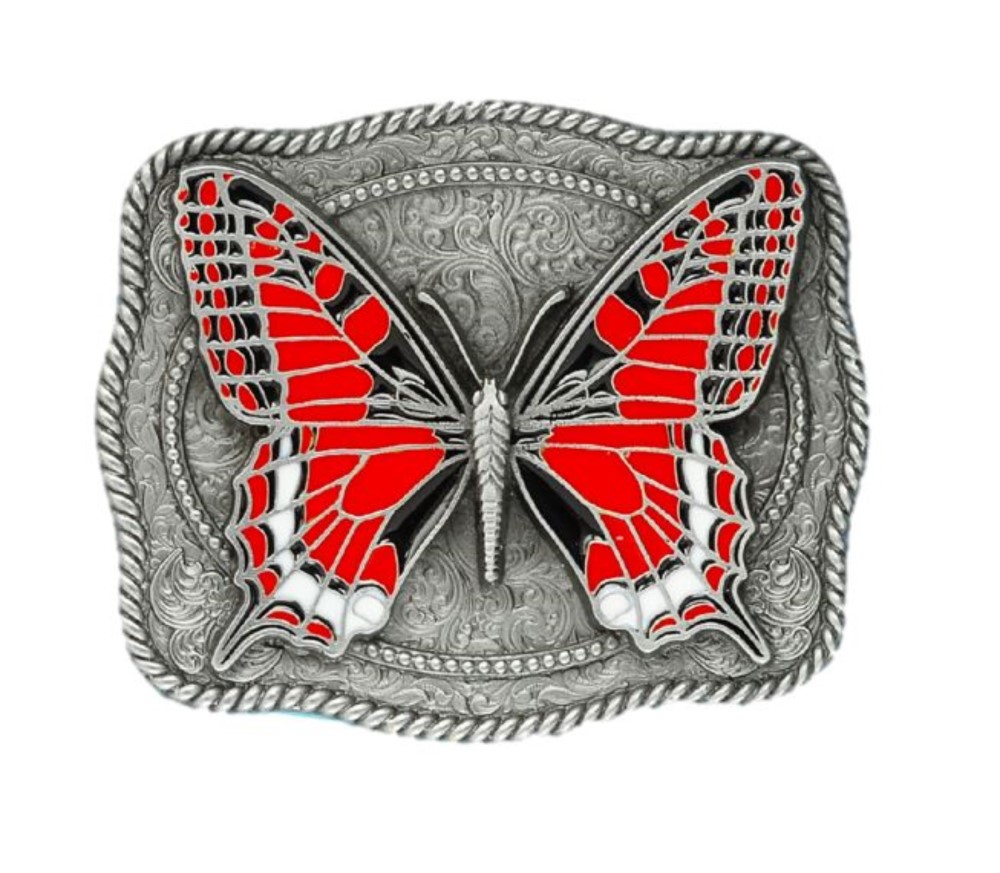 Butterfly Red Belt Buckle
